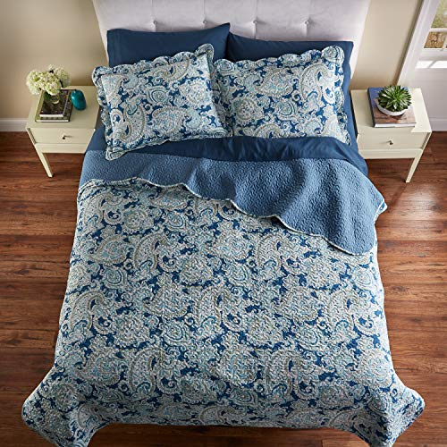 BrylaneHome Paisley 3-Pc. Microfiber Quilt Set - King, Blue Paisley