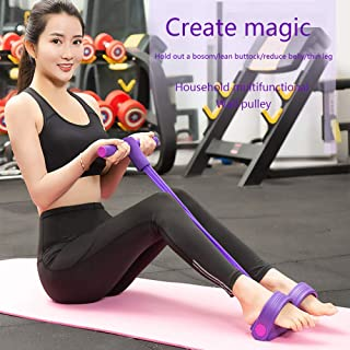 SIKOYA Fitness Sit-up Exercise Equipment for Women 4 Tube Pedal Puller Resistance Bands Yoga Workout Arm Leg Exercise Abdominal Training
