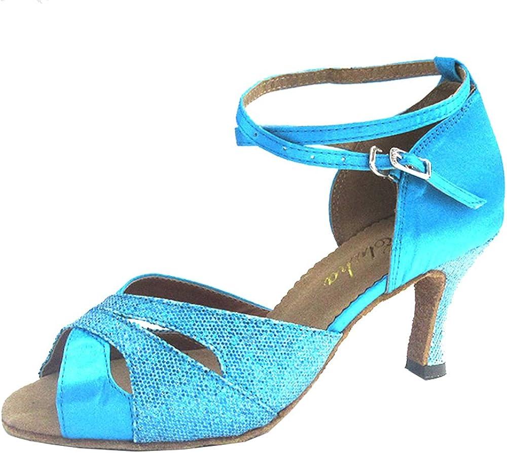 Customized Heel Womens Latin Salsa Dance Shoes Open Toe Ballroom Party Soft Sole Professional Indoor Satin Dancing Sandals