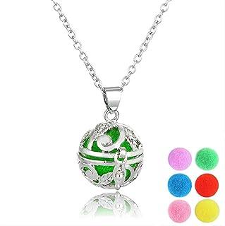 healthwen Collar difusor de Aceite Esencial Medallones de Bolas Huecas Colgante Collar de aromaterapia con Bolas de inserc...