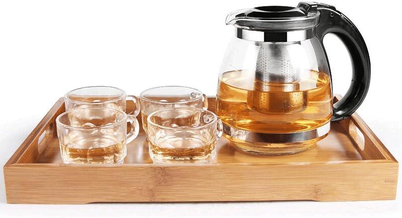 Théière ZLR en Verre résistant à la Chaleur Filtre Fleur thé Rouge Chong thé santé (Une 4 Tasses + Plaque de Bambou) (Couleur   A)