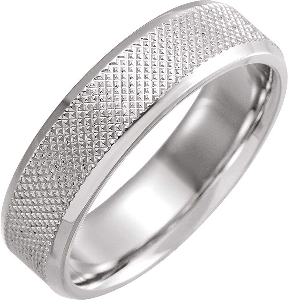 Beveled discount Edge Knurled Wedding Band 925 Solid Real Sterling Silver Limited price