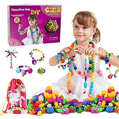 Happytime Snap Pop Beads Girls Toy 180 Pieces DIY Jewelry Marking Kit Fashion...