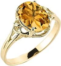 Modern Contemporary Rings Elegant 10k Yellow Gold November Birthstone Genuine Citrine Gemstone Solitaire Ring