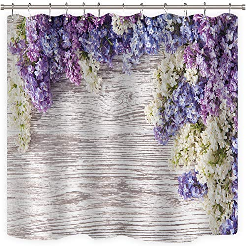 Riyidecor Lavender Flower Shower Curtain Rustic Wooden Floor Purple Lilac Floral Girls Woman Spring Romantic Decor Fabric Bathroom 72x72 Inch 12 Pack Plastic Shower Hooks Included