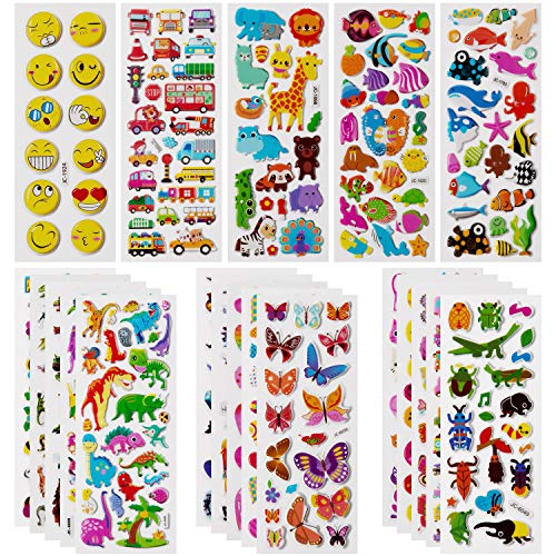 SAVITA 500+ Stickers 3D Stickers for Kids & Toddlers Puffy Stickers Variety Pack for Scrapbooking Bullet Journal Including Animal, Emojis, Dinosaurs, Cars and More