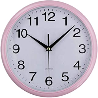 2019 Classic Vintage Round Wall Clock Modern Plastic Clock Quartz Retro Watches,Pink,10 Inch