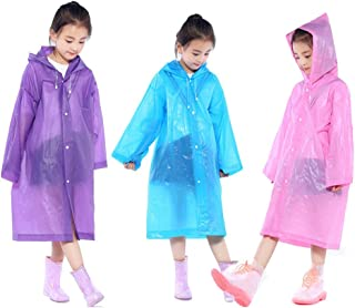 Kids Rain Ponchos, 3 Packs Portable Reusable Emergency Raincoats For 6-12 Years Old for Camping Hiking Traveling Backpacking
