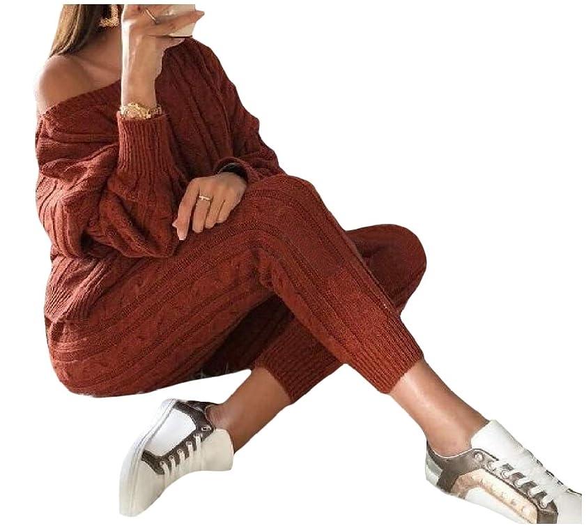 診断する遅れ単独でレディースファッションロングスリーブスリム固体2ピースニットセーターセットトラックスーツ