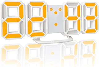YABAE デジタル時計 LEDデジタル 目覚まし時計 時計 壁掛け 3D led wall clock 置き時計 置時計 おしゃれ 多機能 明るさ調整 スヌーズ アラーム クロック 12H/24H時間表示 立体 卓上 ACアダプター付属 イエ...