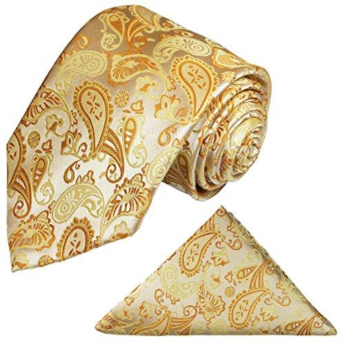 Paul Malone Krawatten Set 2tlg Krawatte + Einstecktuch creme gold paisley Hochzeitskrawatte Bräutigam