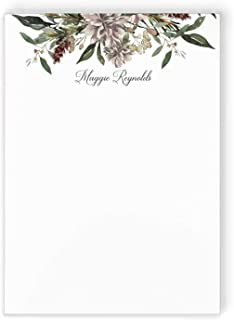 PINK PEONIES NOTEPAD Personalized Hot Pink Fuschia Flower Stationery//Womens or Girls Garden Preppy Stationary Memo Note Pad