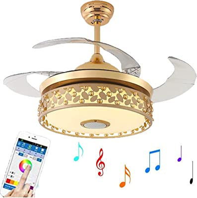 Kankanray 42'' Bluetooth Invisible Ceiling Fans with LED Light and Remote, Modern Fan Chandelier with 7-Color Dimmable and 3 Speeds Silent Motor Decorative Lighting Lamp (42in-Gold)