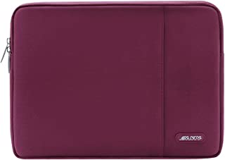 Mosiso Laptop Sleeve Compatible 13 Inch New MacBook Pro Touch Bar A1989 & A1706 & A1708 2018 2017 2016, Surface Pro 2017, Dell XPS 13, Polyester Water Repellent Vertical Bag with Pocket, Wine Red