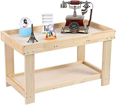 Kids Activity Table, Wooden Kids Building Block Table Bricks Table with Lego Game Board Multifunctional Toddler Play and Lear