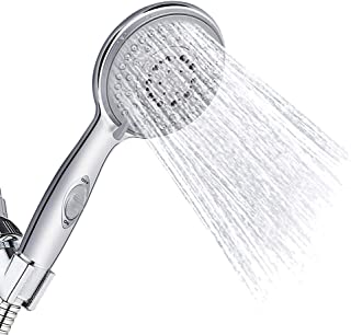 Vegena Handheld Shower, Stainless Steel Rainfall Showerhead,5 Jet Modes High Pressure Shower Head Tap Filter Water Saving Shower Head with Anti-Limescale Function and Water Stop Function Chrome