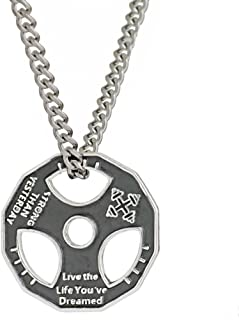 JAJAFOOK Unisex Fitness Gym Dumbbell Weight Lifting Plate Barbell Chain Pendant Charm Necklace