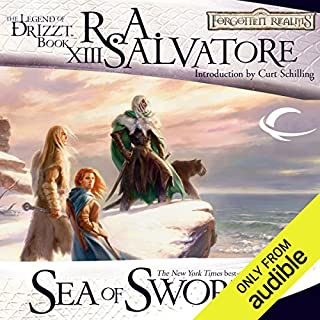 Sea of Swords: Legend of Drizzt: Paths of Darkness, Book 3                   Written by:                                                                                                                                 R. A. Salvatore                               Narrated by:                                                                                                                                 Victor Bevine                      Length: 12 hrs and 37 mins     22 ratings     Overall 4.9