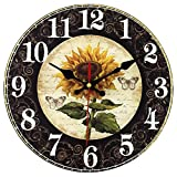 12 Inch Sunflower Kitchen Wall Clock Rustic Farmhouse Clocks, Thick Wood Home Decor Clock for Bedroom, Office, Dinning Room, Silent Battery Operated (Black)