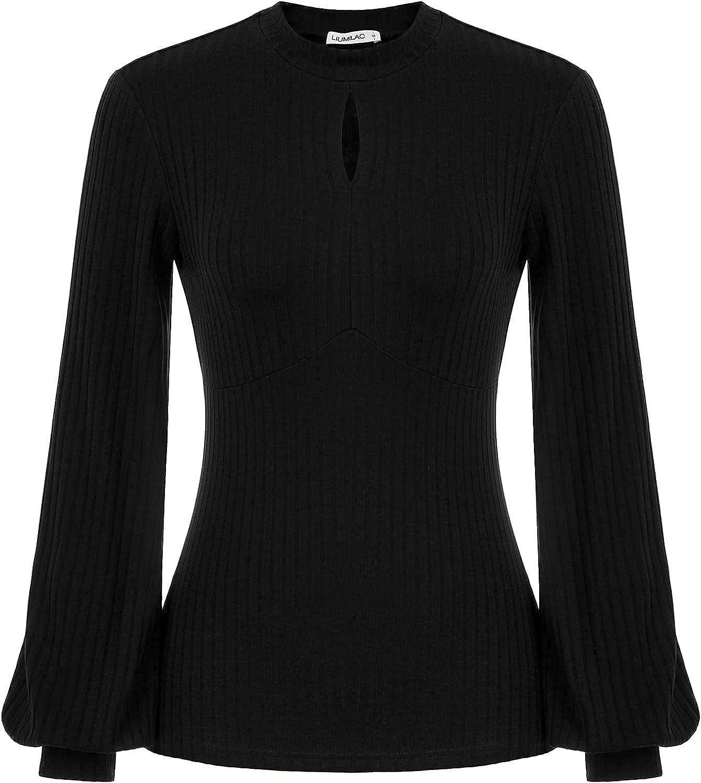 LIUMILAC Women Knit Ribbed Blouse Long Lantern Sleeves Mock Neck Keyhole Shirt