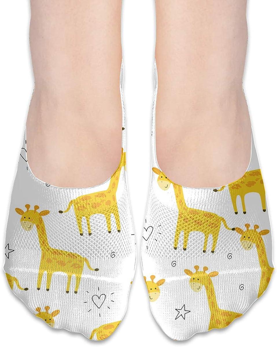No Show Socks Giraffe Cotton Thin Non Slip Low Cut Invisible Sock