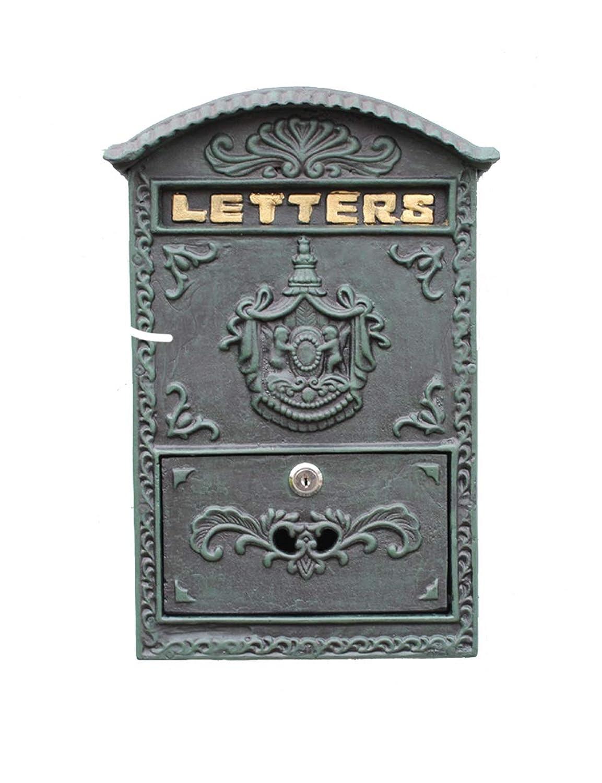 XiuHUa 壁に取り付けられた鋳鉄工芸インクの緑のレターボックスメールボックスのメールボックスの装飾 メール保管