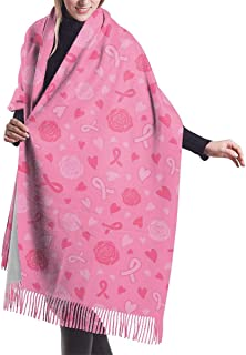 Breast Cancer Awareness Pink Ribbon Fashion Shawl Scarf Cashmere Winter Scarf For Women Men
