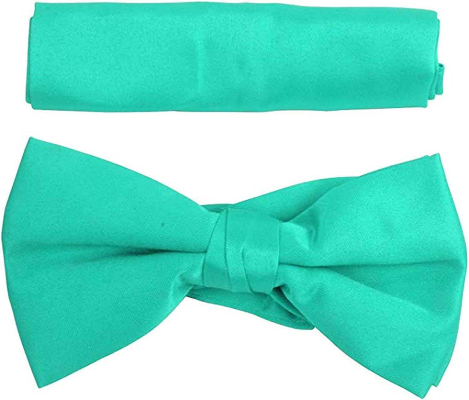 New Boy's Solid Pre Tied Bow Tie and Hanky Set