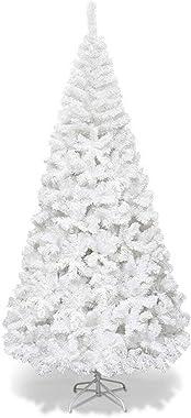 Dancal Albero di Natale Bianco, 5ft / 6ft / 7ft Albero di Natale Artificiale Albero di Natale con Punte in Metallo Solido Con