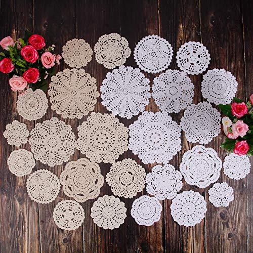 TOSEEY 26pcs Mini Handmade Crochet Doilies for crafts,3-6 inches Vintage Wedding Decorate Hight Tea(13pcs white&13pcs beige)