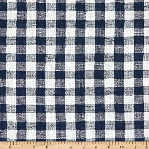 Fabric Erin Cotton Double Gauze Plaid, Navy/White