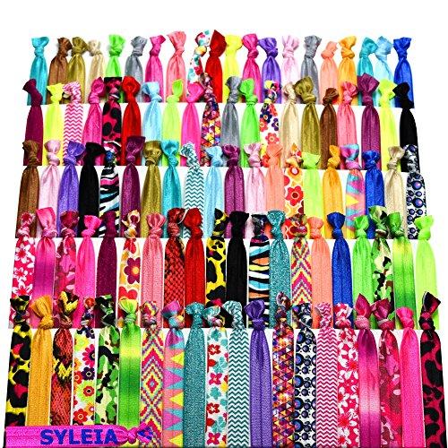 Syleia 100 abraçadeiras de cabelo – estampadas e cores sólidas – mais uma gravata de cabelo bônus – suportes elásticos para rabo de cavalo sem vinco com nó dobrável à mão, pacote com 100 unidades