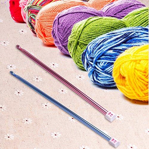 Crochet Hooks Set, Zealor 11 Pieces Diverse Size Assorted Colors Tunisian Afghan Aluminum Knitting Needles Set (2mm to 8mm)