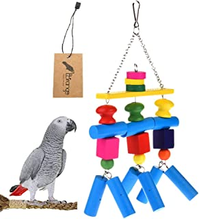 Borangs Parrot Chewing Toys Parrot Knots Block Chew Toy Colorful Natural Wood Hanging Toys for for Large and Medium Birds African Greys Eclectus Cockatiel Conure Cage Accessories