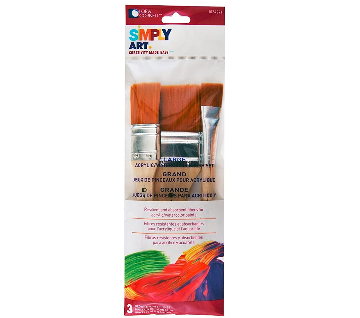 Loew-Cornell Simply Art Nylon Brush Set, Large, Brown