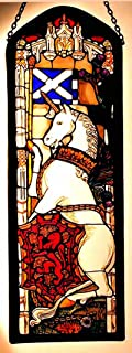 Decorative Hand Painted Stained Glass Window Rectangular Panel in an Edinburgh Unicorn Design.