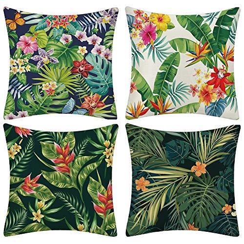 JOTOM Kissenbezüge Baumwolle Leinen Tropische Pflanzen Blätter Dekorative Setzen Fall Sofa Kissenbezug 45 * 45cm 4er Set (Grünes Blatt und Blumen)