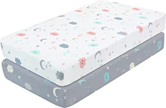 Yoofoss Fitted Crib Sheet Set 2 Pack Baby Sheets for Standard Crib Toddler Mattress Cover Soft Breathable Mattress Cover f...