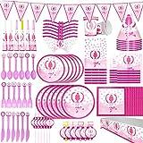 McNory 90 Pieza Vajilla Partido,Chicas de Ballet Niño Accesorio de Decoración de Fiesta de Cumpleaños Rosa-Apoyo para Celebración-Pancarta,Platos,Vasos,Servilletas y Mantel