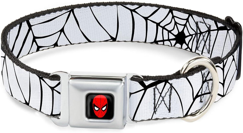 BuckleDown DCWSPD005WM Dog Collar Seatbelt Buckle, Spiderweb White Black, 1.5  by 1623
