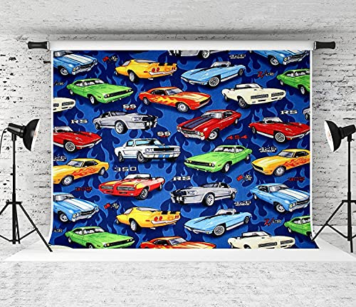 VANKINE Photography Background Auto Sports Muscle Cars Pattern Party Decoration Banner Photo Booth Backdrop for Studio Props 7x5FT