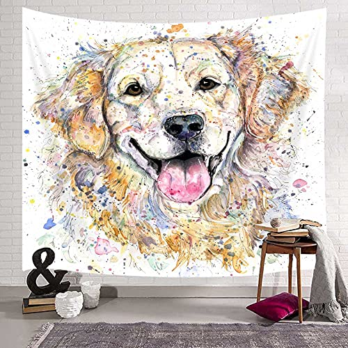 Funny Cute Dog Tapestry Wall Hanging, (71'W X 60'H), Funny Golden Retriever Dog Humorous Cute Dog Watercolor Cool Puppy Dog Wall Tapestry for Bedroom Living Room College Dorm Funny Dog Wall Decor