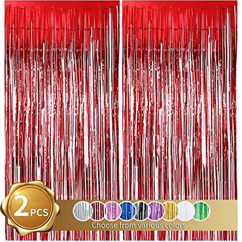 2er Pack Folienfransen Vorhang, rote Lametta Metallic Vorhänge Foto Hintergrund für Hochzeit Verlobung Brautdusche Geburtstag Bachelorette Party Bühnendekor (3,28 ft x 6,56 ft)