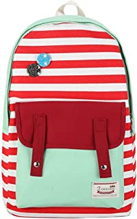 Leng QL Personality Backpacks Creative Printed Striped Canvas Shoulder Bag Student Casual Backpack
