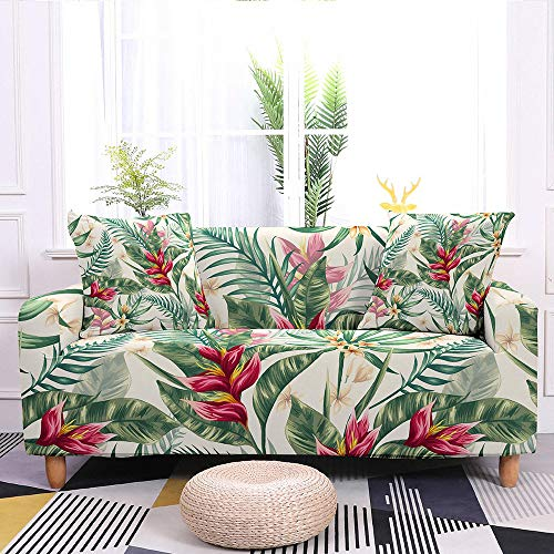 Stretch Sofa Slipcover,Tropical Leaves Pattern Non-Slip Soft Couch Covers,Washable Furniture Protector,For Living Room Corner Sectional Couch Cover,Adjustablea Elastic Bottom,Red Leaves,2Pcs Pillowcas