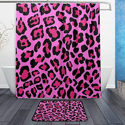 W-wishes Vintage Classic Leopard wasserdichtes Polyestergewebe Duschvorhang Set mit 12 Haken & Badematten Teppiche für Badezimmer