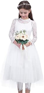 FEESHOW Girs Long Sleeve Party Wedding Bridesmaid First Communion Lace Flower Girl Dress