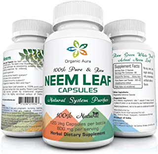 Organic Aura Neem Capsules. Natures Miracle Detoxifying Agent. Promotes Healthy Respiratory, Digestive and Immune System. ...