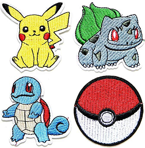 Embroidereal Cartoon Game Characters Iron on or Sew on Patch Collection 4 Pcs