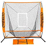 Outroad Baseball Nets Batting and Pitching 5 x 5 - Portable Practice Net with Bow Frame and Strike Zone Target - Portable and Removable Ball Holder Batting Practice with Carry Bag